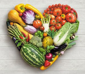 Veggie Heart. Heart symbol. Vegetables diet concept.